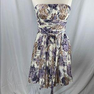 BCBGMAXAZRIA silk strapless balloon bottom dress